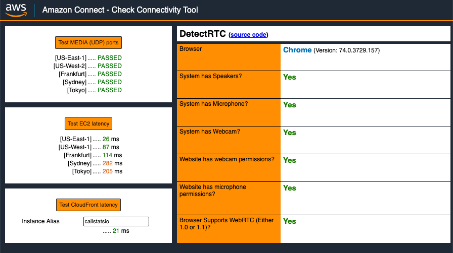 Amazon Check Connectivity Tool Screenshot