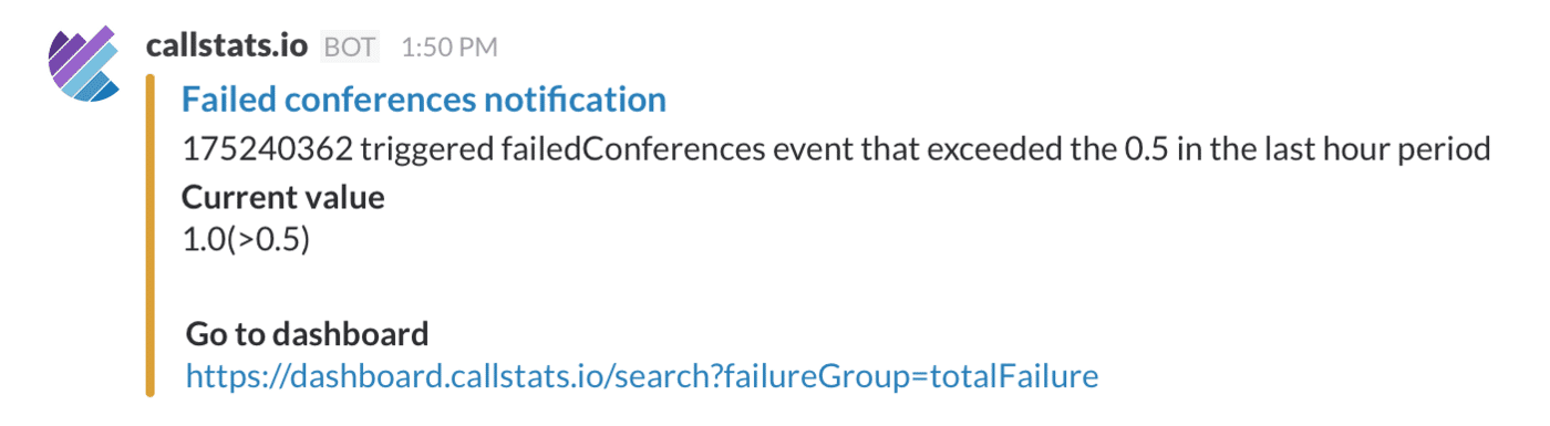 A failed conferences notification in Slack