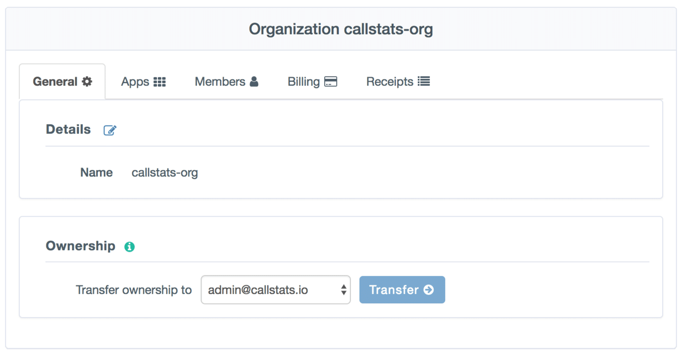 Changing ownership in the callstats.io dashboard